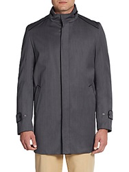 Saks Fifth Avenue Black Piped Detail Wool Jacket Charcoal
