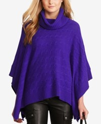 Polo Ralph Lauren Cable Knit Poncho British Purple