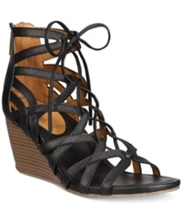 Kenneth Cole Reaction Women's Cake Pop Gladiator Lace Up Wedge Sandals Women's Shoes Black