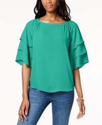 Charter Club Tiered Sleeve Blouse Created For Macy's Acadia Green