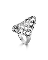 John Hardy Classic Chain Silver Diamond Pave Woven Braided Saddle Ring