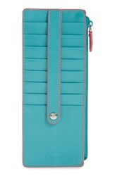 Lodis Women's Audrey Rfid Leather Credit Card Case Blue Green Turquoise Coral