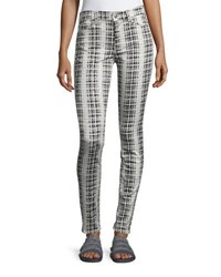 7 For All Mankind High Waist Houndstooth Print Skinny Jeans White Black