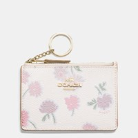 Coach Mini Id Skinny In Daisy Field Print Coated Canvas Light Gold Daisy Field Beechwood