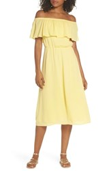 Charles Henry Off The Shoulder Ruffle Midi Dress Yellow