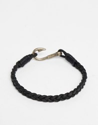 Asos Plaited Bracelet With Hook Black