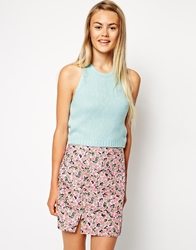 Asos Halter Top In Fluffy Knit Aqua