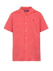 Polo Ralph Lauren Logo Embroidered Linen Blend Shirt Red