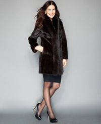 The Fur Vault Fox Trimmed Mink Coat Mahogany Brown