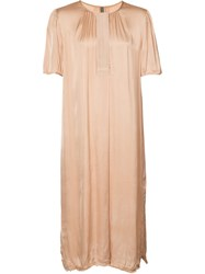 Raquel Allegra Ribbon Placket Dress Nude Neutrals