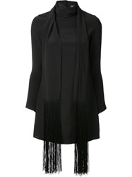 Haney 'Cobie' Fringe Scarf Dress Black