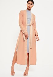 Missguided Nude Satin Trim Tie Cuff Duster Coat Gold