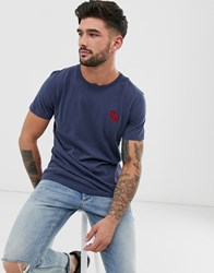 Abercrombie And Fitch Exploded Icon Logo Crewneck T Shirt In Navy