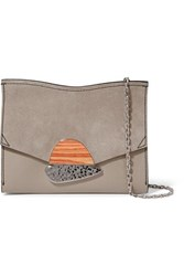 Proenza Schouler Curl Small Embellished Textured Leather And Suede Shoulder Bag Gray