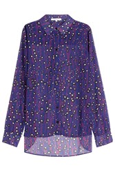 Carven Printed Blouse With Asymmetric Hem Purple