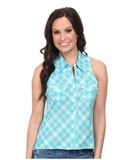 Roper 9590 Turquoise Ombre Plaid Sleeveless Shirt Blue Women's Sleeveless