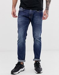 Replay Rob Straight Tapered Jean In Mid Wash Blue