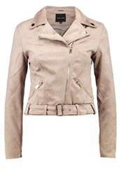New Look Faux Leather Jacket Stone Grey
