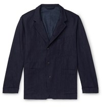 Paul Smith Cotton Linen And Silk Blend Denim Chore Jacket Indigo