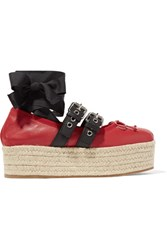 Miu Miu Lace Up Leather Platform Espadrilles Red