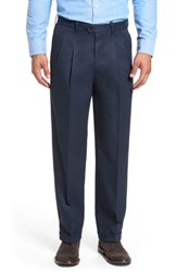 Nordstrom Big And Tall Shop Classic Smartcare Tm Supima Cotton Pleated Trousers Navy Eclipse