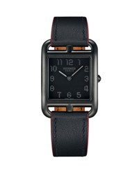 Hermes Cape Cod Gm Matte Black Leather Strap Watch