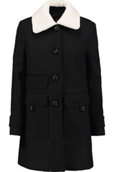 Maje Faux Shearling Trimmed Wool Blend Coat Black
