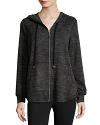 Neiman Marcus Zip Front Relaxed Hoodie Sweater Black Gray