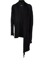 Lost And Found Asymmetric Open Front Cardigan Black