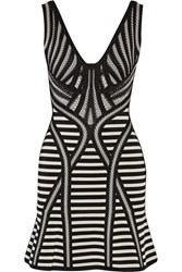 Herve Leger Milana Stretch Jacquard Knit Mini Dress Black