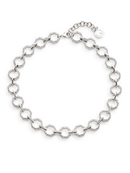 Louise Et Cie Micro Pave Crystal Link Necklace Rhodium