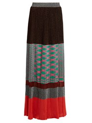 Missoni Pleated Panelled Knit Maxi Skirt Multi