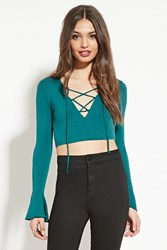 Forever 21 Lace Up Crop Top Hunter Green