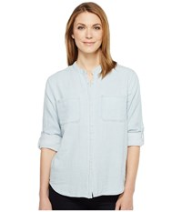Joe's Jeans Alice Long Sleeve Shirt Blue White Women's Clothing