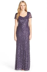 Women's Adrianna Papell Beaded Short Sleeve Gown