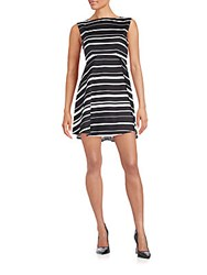 French Connection Joshua Striped Stretch Cotton Fit And Flare Dress Black White