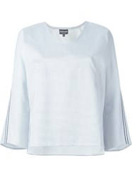 Giorgio Armani Striped Long Sleeve Top White
