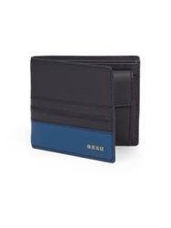 Tod's Colorblock Billfold Wallet Navy Blue Brown Yellow