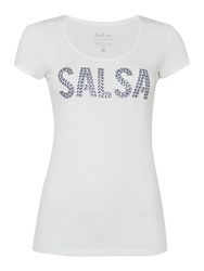 Salsa Short Sleeve Crew Neck Logo T Shirt White