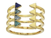 Rebecca Minkoff Stacked Triangles U Ring Blue Multi Gold Ring