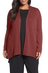Eileen Fisher Plus Size Women's Ribbed Silk And Organic Cotton Cardigan Persimmon