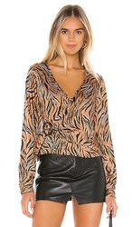 Line And Dot Liv Wrap Around Top In Brown. Camel And Black