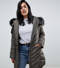Lovedrobe Long Quilted Coat With Faux Fur Trim Green