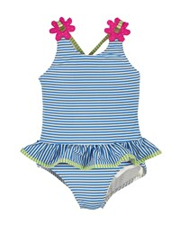 Florence Eiseman Striped One Piece Skirted Swimsuit Blue White