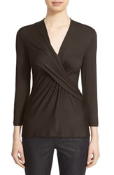 Lafayette 148 New York Petite Women's Pleat Wrap Front Top Espresso