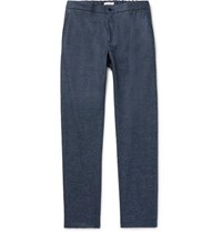 Boglioli Navy Slim Fit Tapered Micro Checked Wool Flannel Drawstring Trousers Navy