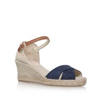 Carvela Scalt High Heel Wedge Sandals Navy