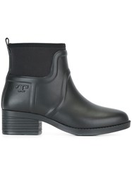 Tory Burch Embossed Logo Ankle Boots Black