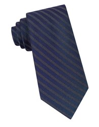 Calvin Klein Striped Silk Blend Tie Navy