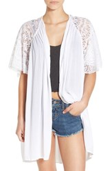 Women's Volcom 'Cactus Flower' Lacy Short Sleeve Cardigan